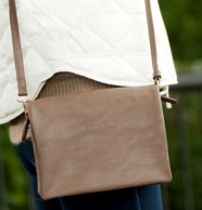 Taupe Leather Monogrammed Palmer Crossbody Purse