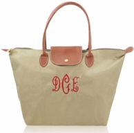 Taupe Monogrammed Leather Flap Nylon Traveler Tote Bag