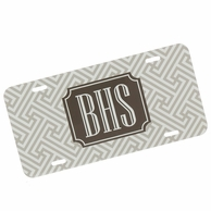 Taupe Tan Greek Key Monogrammed Car Tag