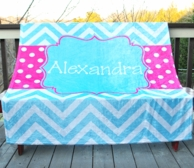 Teal Chevron Dots Personalized Fleece Throw Blanket