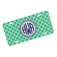 Teal Circles Monogrammed Car Tag