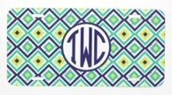 Teal Ikat Diamonds Monogrammed Car Tag