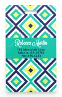 Teal Ikat Diamonds Personalized Luggage Tags - SET OF 2
