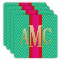 Teal Retro Chevron Metallic Monogram Coasters - SET OF 4