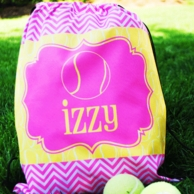 Tennis Girl Personalized Drawstring Backpack