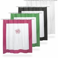Thread Monogrammed Border Trim Cotton Shower Curtain