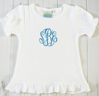 Thread Monogrammed Girls Ruffle Tee