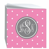 Tiny Dots Monogrammed Sticky Note Cube - CHOOSE YOUR COLORS!