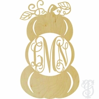 Triple Pumpkin Stack Wood Wall Monogram