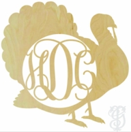 Turkey Border Wood Wall Monogram Decor