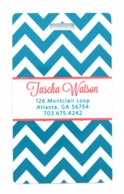 Turquoise Chevron Personalized Luggage Tags - SET OF 2