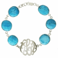 Turquoise Coin Bead Initial Bracelet