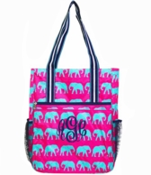 Turquoise Elephant Parade Monogrammed Tennis Tall Tote