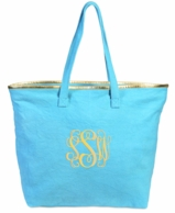 Turquoise Monogrammed Total Tote