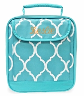 Turquoise Quatrafoil Monogrammed Lunch Tote