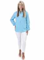 Turquoise Solid Tunic Blouse