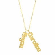 Vertical Gold Nameplate Necklace - CHOOSE YOUR NUMBER OF NAMES
