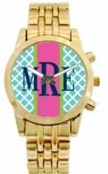 Vertical Ribbon Monogrammed Gold Watch - DESIGN YOUR OWN ONLINE!