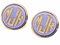 Vineyard Collection Monogram Round Post Earrings - CHOOSE YOUR COLOR!