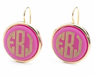 Vineyard Collection Round Monogram Dangle Earrings - CHOOSE YOUR COLOR!