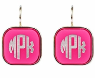 Vineyard Collection Square Monogram Dangle Earrings - CHOOSE YOUR COLOR!