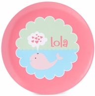 Whale Love Pink Personalized Kids Plate / Bowl