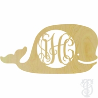 Whale Wood Wall Monogram