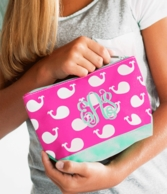 Whales Monogrammed Cosmetic Bag