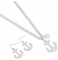 White Anchor Necklace and Earrings Set