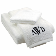 White Monogrammed Bath Towel, Hand Towel & Washcloth