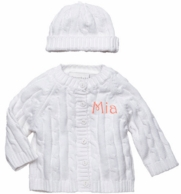 White Monogrammed Cable Knit Baby Sweater and Hat Set