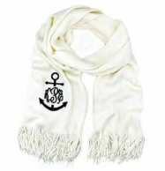 WHITE Monogrammed Cashmere Soft Scarf