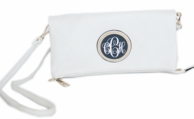 White Monogrammed Jackie Foldover Clutch