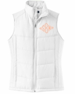 White Monogrammed Quilted Puffer Vest