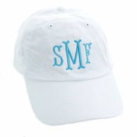 White Monogrammed Women's Baseball Hat