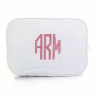 White Waffle Weave Monogrammed Spa Cosmetic Bag
