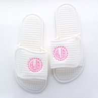 White Waffle Weave Monogrammed Spa Slippers