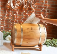 Wine Barrel Personalized Wedding Gift Card Holder