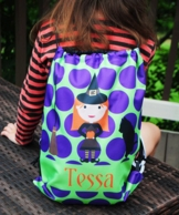 Witchy Poo Personalized Halloween Drawstring Backpack