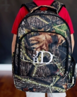 Woods Monogrammed Camoflage Backpack