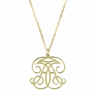 Woven 2 Initial Metal Monogram Necklace - ML xx EM