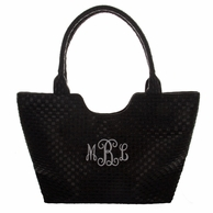 Woven Texture Black Vegan Leather Handbag Tote