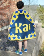 Yellow Bat Stars Personalized Kids Super Hero Cape