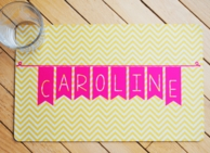 Yellow Chevron Banner Personalized Placemat