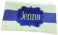 Yellow Chevron Personalized Pencil case