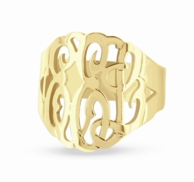 Yellow Gold Custom Cut Monogram Ring
