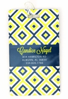 yellow Ikat Diamond Personalized Luggage Tags - SET OF 2