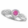 Pink Sapphire Bezel Ring with Diamond