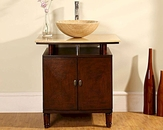 "29"" Silkroad Single Sink Cabinet 7/8"" Travertine Top"