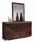 4 Door Buffet and Mirror in High Gloss Walnut Finish 33D65